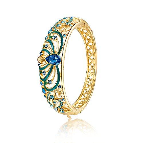 City Ouna® Elementi di Swarovski qualità in lega placcato 18k braccialetto etnico turchese Bracciale Bangle ampia per donne gioielli regalo con zirconi viola cristallo (Cloisonne52-2)