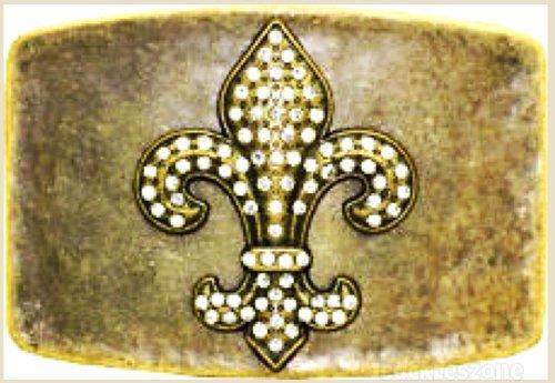 Fleur De Lis Rhinestones Antique Brass Finish Belt Buckle Square