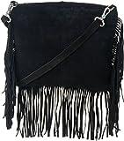Tiara Women's Fringes sling Handbag Black sk10002