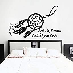 Dream Catcher Wall Decal Vinyl Dream Catcher Sticker Baby Nursery Wall Decor Wall Mural Bedroom Wall Art Decor Black