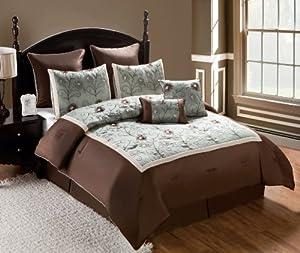 Victoria Classics Delaney 8-Piece Embroidered Comforter Set, Queen, Seafoam