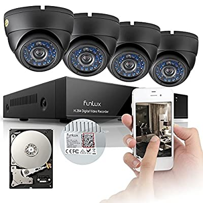 Funlux® 8CH 960H DVR Security System, P2P, QR-Code Connection, 4 Day Night 600TVL Vandalproof Dome Cameras CCTV Surveillance System 500GB HDD