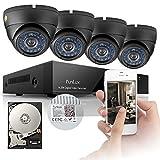 Cámaras de sistema de seguridad Funlux circuito cerrado de televisión, a prueba de vandalismo,  8canales, 960H DVR, P2P, conexión QR-Code, 4 día y noche 600TVL, disco duro de 500GB.