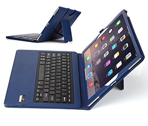 Apple iPad pro ケース IVSOオリジナル,Apple iPad pro専用キーボードカバー 開閉で自動的 PUレザーケース マグネット着脱可能 一体型Bluetoothワイヤレスキーボード (ブルー)