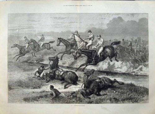 1873 Fine Art Horse Racing Steeplechase Sport Water