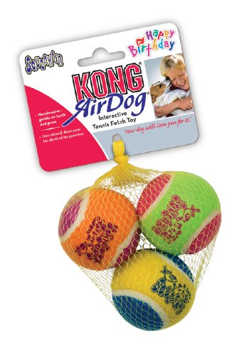 KONG Air Dog Squeakair Birthday Balls Dog Toy, Medium, Colors Vary (3 Balls)