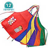 Kuuqa 12 Pack 6 Colour Two Pocket Kids Children's Artist Aprons Art Smock for Kitchen and Classroom Painting Supplies (Painting Brush not Included)