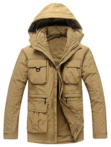 Afs Jeep Men'S Winter Fleece Twinset Casual Outdoor Hooded Jacket Coat 3Xl Khaki