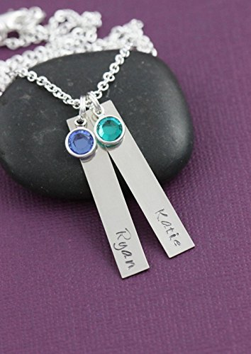Personalized Silver Bar Necklace - DII - Grandma Gift - Christmas - 1.5 x .25 Inch 38 6MM - Custom Name Birthstone - Fast 1 Day Shipping