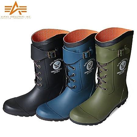 ALPHA アルファ R4000 MILITARY レインブーツ / 長靴 /alf54260410202 (L(26cm~26.5cm), BLACK)