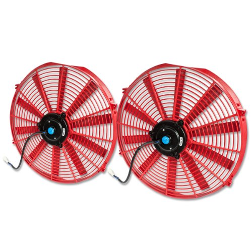 16 Inch High Performance Red Electric Radiator Cooling Fan Assembly Kit (Pack Of 2)