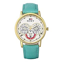 Naivo Mens Quartz Stainless Steel and Leather, Color-Aqua (Model- NAI-Watch-010)