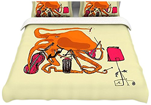 "Kess Inhouse Marianna Tankelevich ""Playful Octopus"" Queen Cotton Duvet, 88 By 88-Inch front-939439"