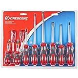 Crescent CSD10 Cushion Grip Screwdriver Set, Red/Black, 10-Piece