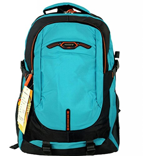 Zerd Nylon Waterproof Sports Travel Camping Students Laptop Backpack Light Blue
