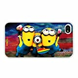 Despicable Me Minions Rainbow Background Horizontal Version Fashion Design Hard Case Cover Skin Protector for Iphone 4 4s Iphone4 At&t Sprint Verizon Retail Packing( White Pc+pearlescent Aluminum) Ok-012 thumbnail