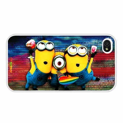 Despicable Me Minions Rainbow Background Horizontal Version Fashion Design Hard Case Cover Skin Protector for Iphone 4 4s Iphone4 At&t Sprint Verizon Retail Packing( White Pc+pearlescent Aluminum) Ok-012