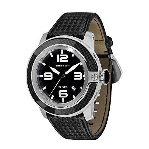 Glam Rock Sobe Tech Homme 50mm Bracelet Silicone Noir Boitier Acier Inoxydable Quartz Montre GR33009N