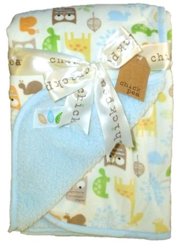 """Chick Pea 30"""" X 30"""" Microfleece Animal-Pattern Blue & Ivory Blanket front-30416"""