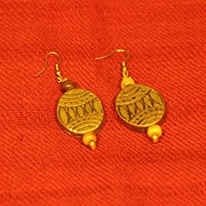Metal earrings - dull brass finished danglers with brown beads (MEDBDBB)