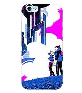PrintVisa Cute Cartoon Couple 3D Hard Polycarbonate Designer Back Case Cover for Apple iPhone 6 Plus