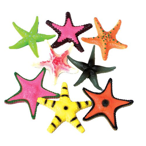 Lot Of 12 Large Assorted Color & Design Plastic Starfish - 4""