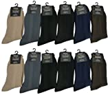 Royal Classic Mens Plain Nylon Dress Socks Cotton Blend Assorted 12-Pack. 10-13