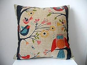 Decorbox Retro Cotton Linen Square Throw Pillow Case Decorative Cushion Cover Pillowcase Cute Birds
