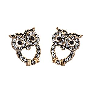GOMO Owl Stud Earrings 18K Gold Plated Top Quality Crystal Stud Earring Jewelry