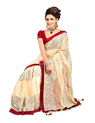 First Loot Net Beige Saree With Embroidary Work 1202w