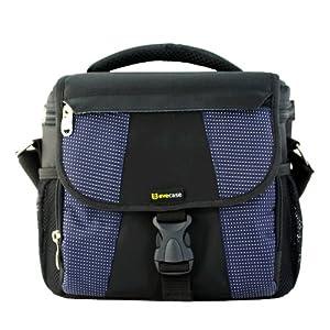 Evecase Large DSLR Camera Nylon Case/Bag with Strap - Black for Fujifilm Finepix S1, S9400W, S9200, S8600, S8400, S8200, S4800, S4600, S4700, S6800, S6700, S6600, S4500, S4200