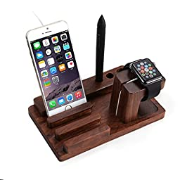 Apple Watch iPhone iPad iPod Wooden Charging Stand Station Dock Platform Cradle Holder for 38/42mm All Models - Rose Wood - by VolksRose®