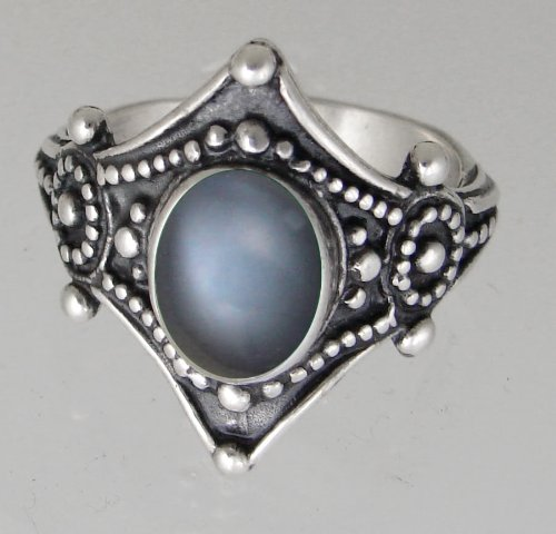 The Royal Ring in Sterling Silver Accented With Genuine Grey Moonstone, Proudly Made in America Size 5 to 20