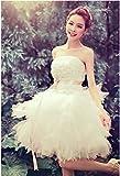 JP0837  花嫁ドレス ウェディングドレス ミニ パーティードレス 二次会ドレス エンパイアドレス ショートドレス ヘッドドレス 姫系ドレス 演奏会 発表会 3714061205 (XXXL, ホワイト)