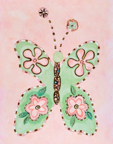 Green Frog Art Cookies & Cream Series Canvas Gallery Wrapped Art, Butterfly