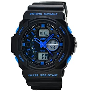 Men's Fashion Sports Multi-Function Electronic Waterproof Watch(Blue)