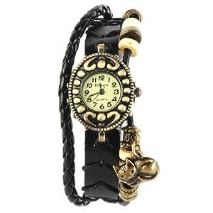 Yesurprise Montre quartz Vintage Avec pendentif Chat Knitted Bracelet en cuir Classique Bronze cadran 5 couleurs -1