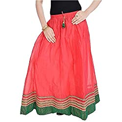 SHREEMANGALAMMART Rajasthani Ethnic Red Pure Cotton Skirt (Light Red)(SMSKT600)