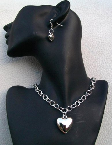 Plain Silver Finish Heart Love Earring Necklace Gift Fashion Hen Party Jewellery Set