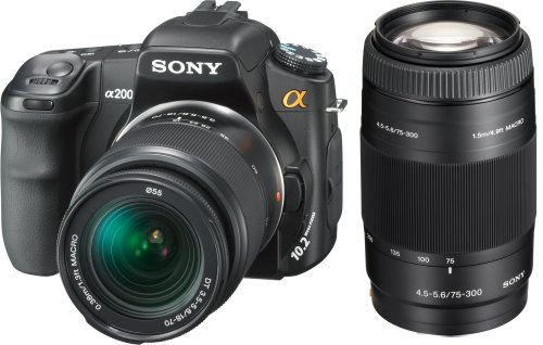 Sony Alpha DSLR-A200 (with 18-70mm and 75-300mm Lenses) is one of the Best Digital Cameras for Action Photos Under $700