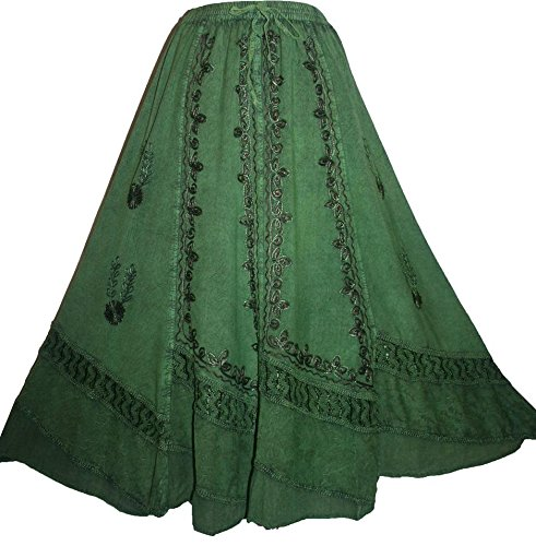 Agan Traders Women's Dancing Vintage Embroidered Net Costume Skirt