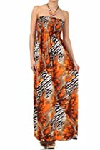 FORoughZebra72A-7931 Wild Zebra Inspired Graphic Print Beaded Halter Smocked Bodice Long / Maxi Dress - Orange / Large