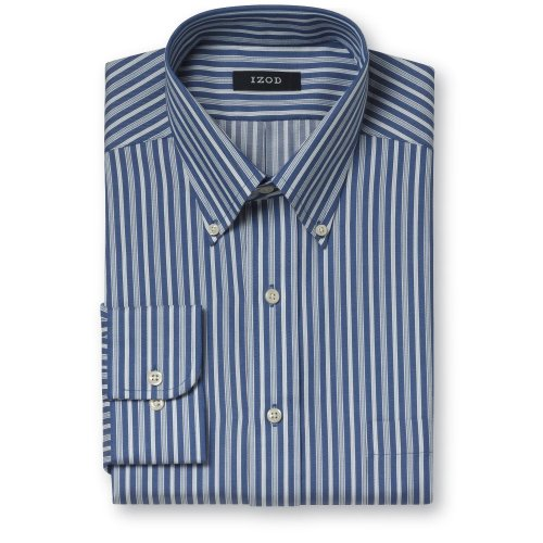 Buy Izod Easy Care Cotton Twill Stripe Dress Shirt- Button Down Collar