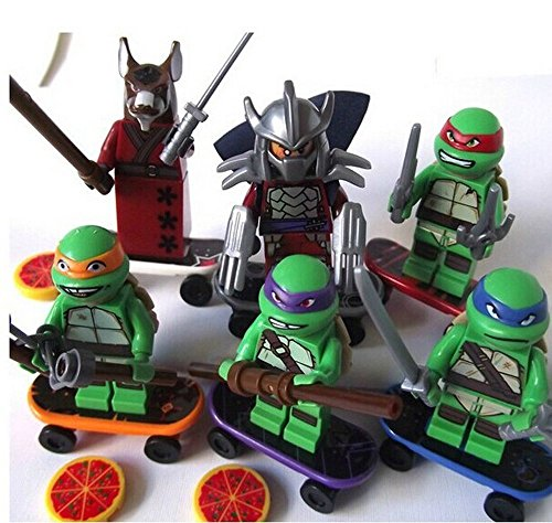 Porncharoen TMNT 6 Pcs Set Teenage Mutant Ninja Turtles Action Mini Figures Building Block Toy New Kids Gift Compatible With Lego (Tmnt Mini Mutants Playsets compare prices)