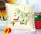 Birds And Orchids Stamped Cross Stitch Cushion 2