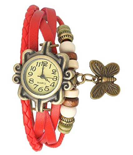 Romero Fancy Vintage styled Rakhi butterfly watch collection - Suitable for Rakshabandhan or any occasion return gift to sister (Red)  available at amazon for Rs.239