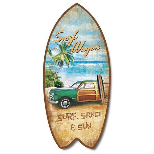 "Retro Vintage Surf Wagon Tropical Beach Mini Surfboard Plaque Home Décor Accent 11"""