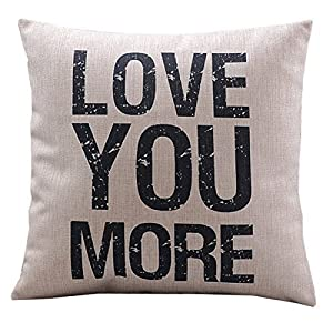 CoolDream Love You More Cotton Linen Pillow Cover