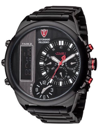 Detomaso Men's Watch XL PaLERMO Multiple Time-Black Steel Analogue-Digital Display and Silver Stainless Steel DT2052-D