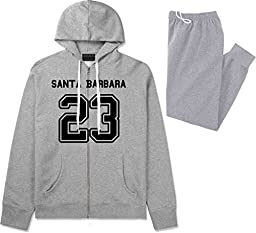 Sport Style Santa Barbara 23 Team Jersey City California Sweat Suit Sweatpants Small Grey